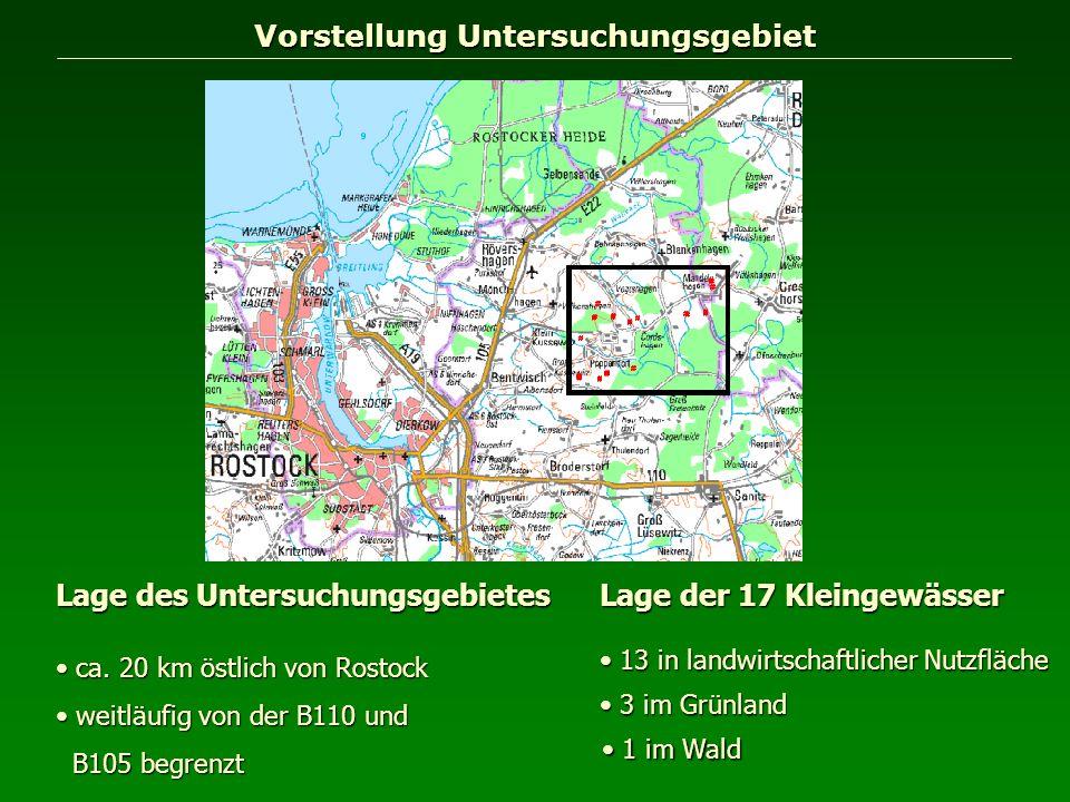 Vorstellung Untersuchungsgebiet Lage des Untersuchungsgebietes ca. 20 km östlich von Rostock ca. 20 km östlich von Rostock weitläufig von der B110 und