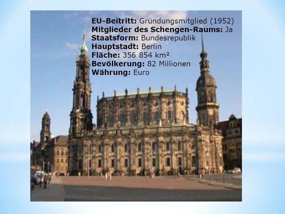 EU-Beitritt: Gründungsmitglied (1952) Mitglieder des Schengen- Raums: Ja Staatsform: Bundesrepublik Hauptstadt: Berlin Fläche: 356 854 km² Bevölkerung