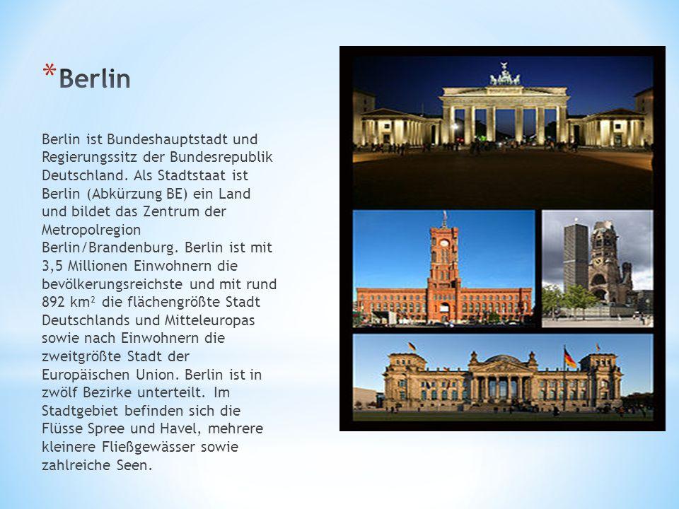 Berlin ist Bundeshauptstadt und Regierungssitz der Bundesrepublik Deutschland. Als Stadtstaat ist Berlin (Abkürzung BE) ein Land und bildet das Zentru