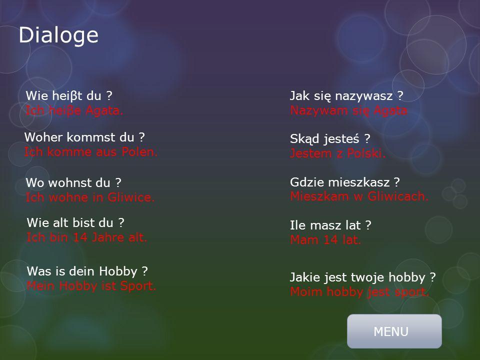 Dialoge Wie heiβt du ? Ich heiβe Agata. Woher kommst du ? Ich komme aus Polen. Wo wohnst du ? Ich wohne in Gliwice. Wie alt bist du ? Ich bin 14 Jahre
