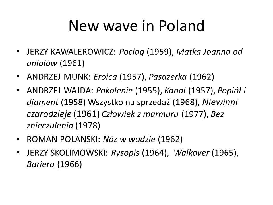 The third Polish cinema KRZYSZTOF ZANUSSI: Struktura krysztalu (1969), Barwy ochronne (1977) Rok spokójnego słonca (1984) KRZYSZTOF KIÉSLOWSKI: Amator (1979) Przypadek (1979) Decalog I-X (1989) RYSZARD BUGAJSKI: Przesłuchanie (1982) AGNIESZKA HOLLAND: Aktorzy prowincjonalni (1980), Bittere Ernte (1985), Europa, Europa (1991) WALERIAN BOROWCZYK: Goto, Ile damour (1967), Contes immoraux (1974), Dzieje grzechu (1975)