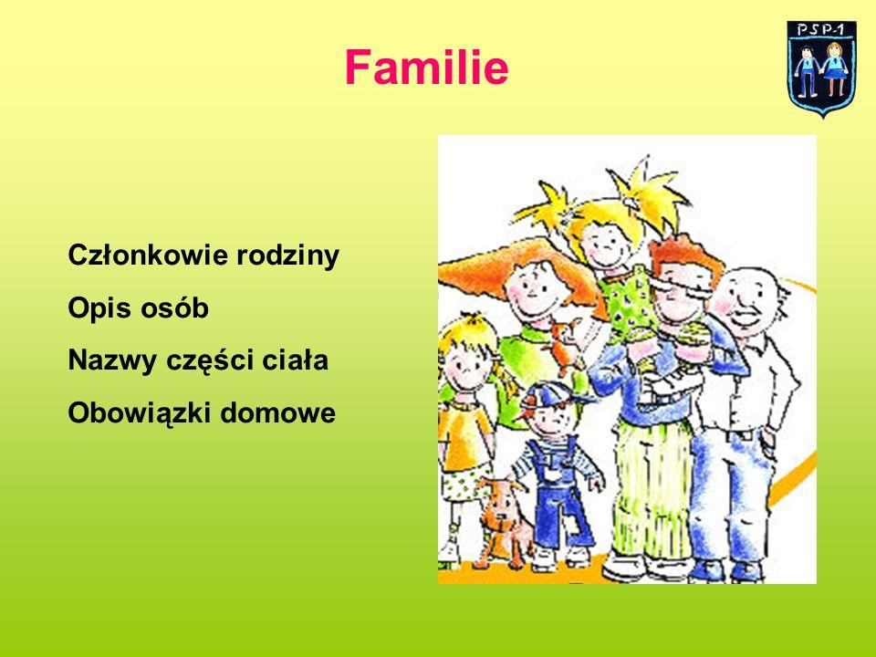 Familie Członkowie rodziny Opis osób Nazwy części ciała Obowiązki domowe