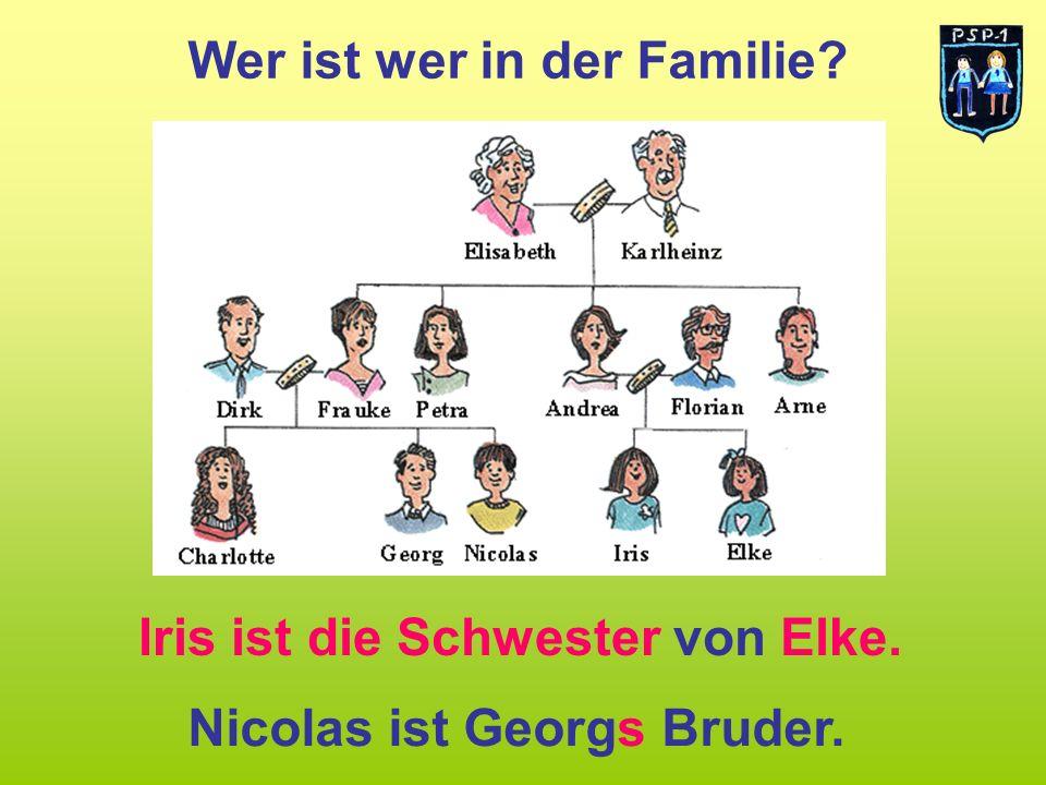 Wer ist wer in der Familie? Iris ist die Schwester von Elke. Nicolas ist Georgs Bruder.