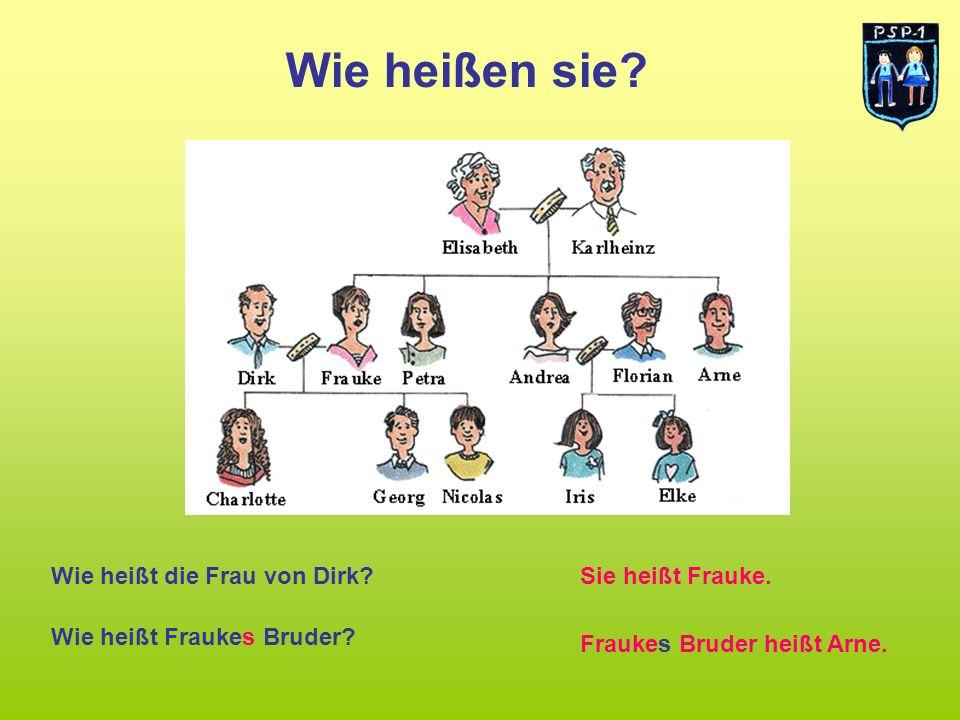 Wie heißen sie? Wie heißt die Frau von Dirk?Sie heißt Frauke. Wie heißt Fraukes Bruder? Fraukes Bruder heißt Arne.
