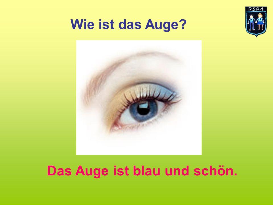 Wie ist das Auge? Das Auge ist blau und schön.