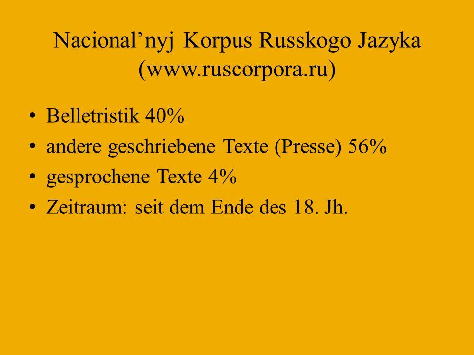 Korpus des DWDS (www.dwds.de) Belletristik (ca.26%) journalistische Prosa (ca.