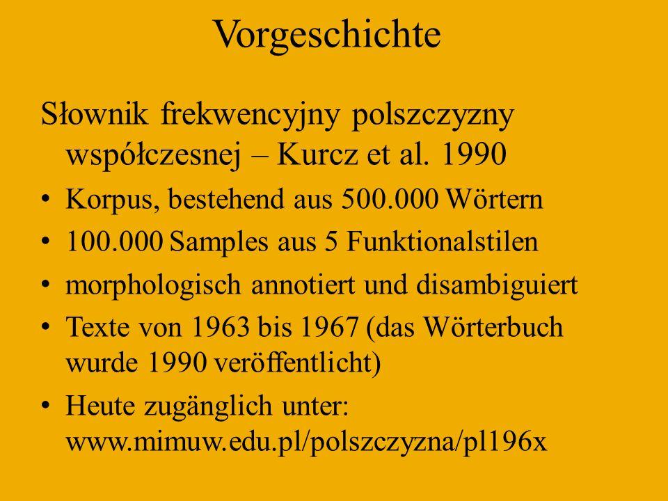 Die 100 häufigsten polnischen Lexeme Frequenzörterbuch des Polnischen (1963-67) w, i, być, się, na, nie, z, on, do, ten, to 1, że, a, o, ja, który, mięć, jak, co, ale, tak, pan, od, po, móc, przez, taki, dla, tylko, za, ty, tysiąc, swój, jeden, bardzo, siebie, czy, rok, jeszcze, przy, wiedzieć, dwa, pierwszy, inny, mówić, nasz, sprawa, sam, my, wszystek, czas, chcieć, praca, zostać, powiedzieć, to 2, tu, oraz, lata (rok), musieć, cały, bo, dzień, mój, więc, nowy, przed, drugi, jednak, pod, pani, nawet, jaki, też, można, no, nic, ludzie, każdy, dziewięćset, również, trzy, kraj, żeby, wszystko, miejsce, tam, człowiek, jakiś, nad, widzieć, coś, teraz, przecież, kiedy, może, wielki, życie, bez, polski PWN Korpus des Polnischen 2001 (korpus.pwn.pl) w, i, się (siebie), być, z, na, nie, on, do, ten, to, że, a, który, o, mieć, jak 1, po, ja, co, od, ale, za, móc, tak, przez, już, dla, swój, tylko, taki, czy, bardzo, wszystek (wszystko), sam 1, rok (r.), człowiek (ludzie), jeden, inny, ty, mówić, czas, bo, my, chcieć, jeszcze, przed, też, wiedzieć, pan, lata (rok), jednak, przy, wielki, mój, zostać, nowy, dwa, pod, raz, pierwszy, nasz, oraz, lub, musieć, dzień, nawet, cały, praca, gdy, można, powiedzieć, polski, by, życie, więc, każdy, sprawa, jaki, jako, dobry, także, bez 1, kiedy, tam, tu, polska, no, drugi, miejsce, nic, osoba, wiele, teraz, u, jakiś, świat, coś