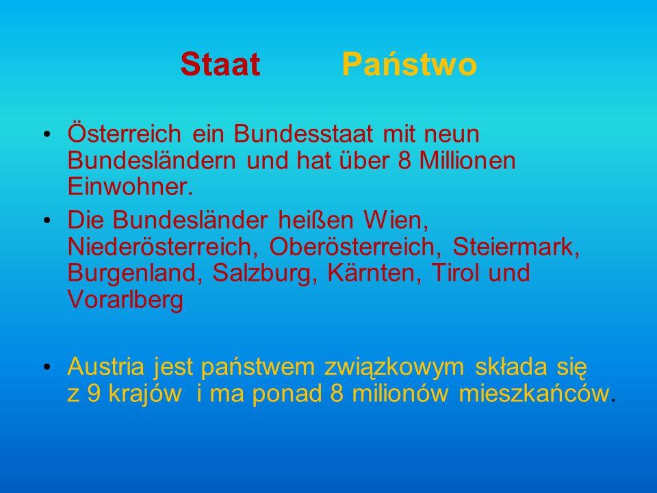 StaatPaństwo Österreich ein Bundesstaat mit neun Bundesländern und hat über 8 Millionen Einwohner. Die Bundesländer heißen Wien, Niederösterreich, Obe