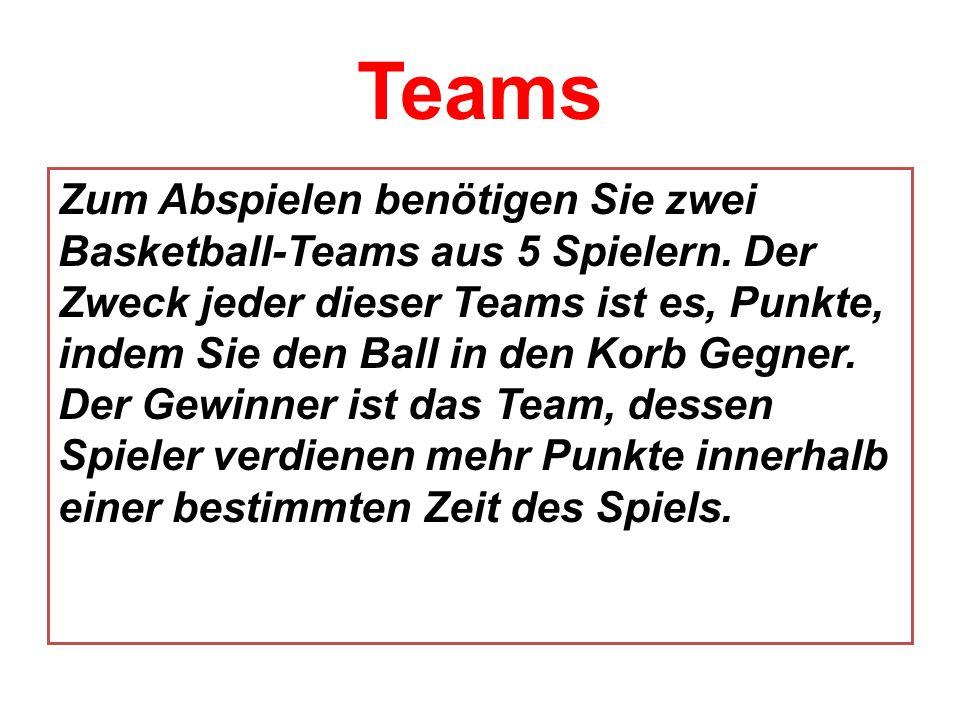 Teams Zum Abspielen benötigen Sie zwei Basketball-Teams aus 5 Spielern. Der Zweck jeder dieser Teams ist es, Punkte, indem Sie den Ball in den Korb Ge