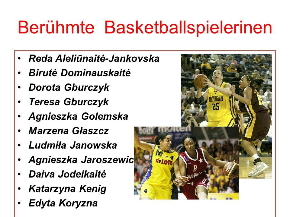 Berühmte Basketballspielerinen Reda Aleliūnaitė-Jankovska Birutė Dominauskaitė Dorota Gburczyk Teresa Gburczyk Agnieszka Golemska Marzena Głaszcz Ludm