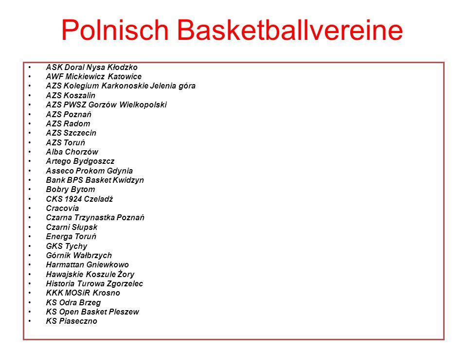 Polnisch Basketballvereine ASK Doral Nysa Kłodzko AWF Mickiewicz Katowice AZS Kolegium Karkonoskie Jelenia góra AZS Koszalin AZS PWSZ Gorzów Wielkopol