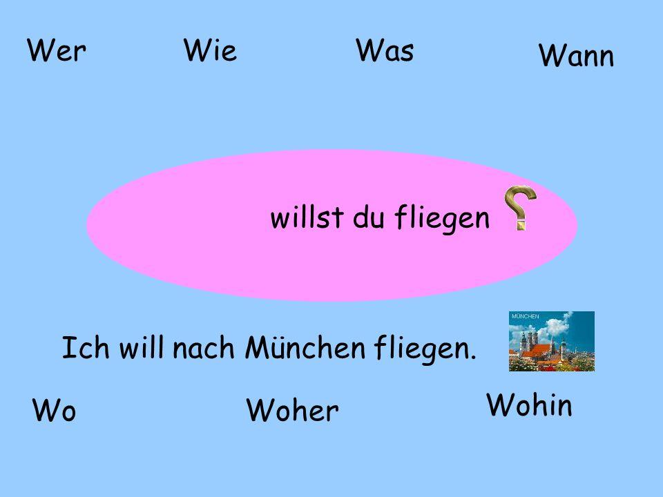? WerWieWas WoWoher Wohin Wann willst du fliegen Ich will nach München fliegen.