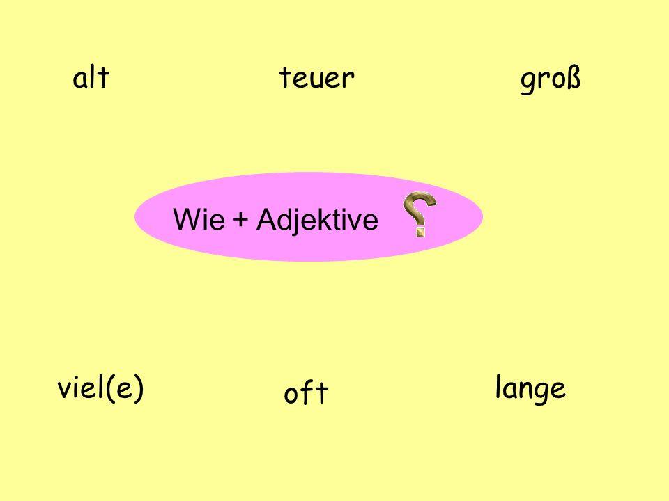 ? Wie + Adjektive altgroß viel(e) oft lange teuer