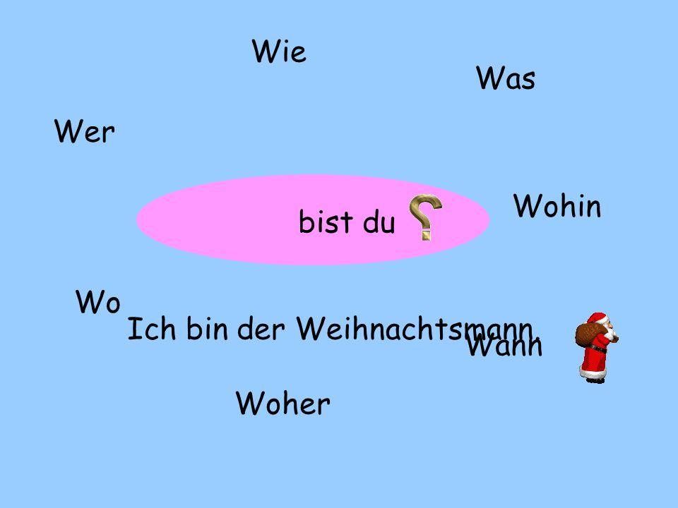 ? WerWieWas WoWoher Wohin Wann heißt « âne » auf Deutsch Es heißt « Esel ».