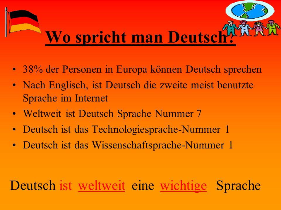 Wo spricht man Deutsch? 38% der Personen in Europa können Deutsch sprechen Nach Englisch, ist Deutsch die zweite meist benutzte Sprache im Internet We