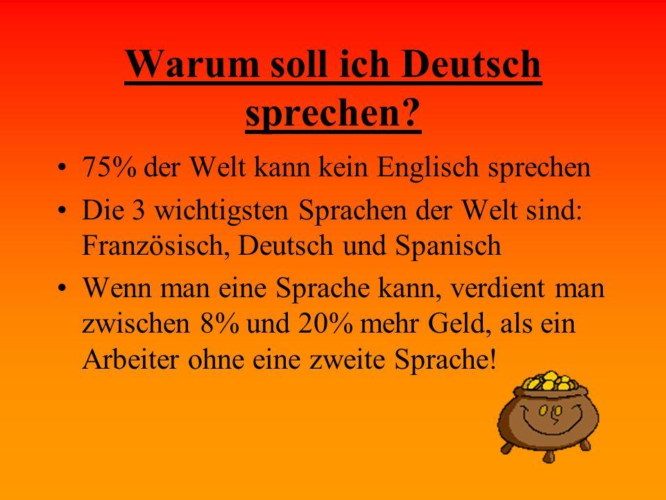 Warum soll ich Deutsch sprechen? 75% der Welt kann kein Englisch sprechen Die 3 wichtigsten Sprachen der Welt sind: Französisch, Deutsch und Spanisch