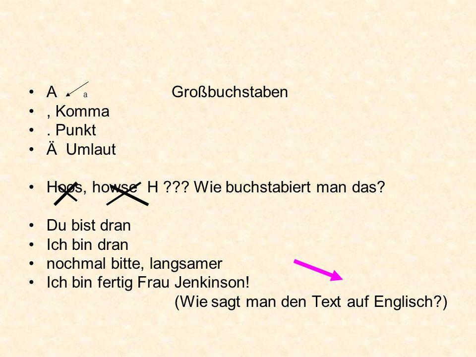 A a Großbuchstaben, Komma.Punkt Ä Umlaut Hoos, howse H ??.
