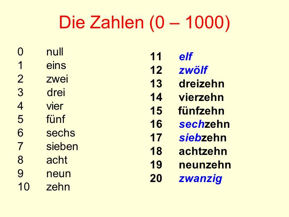 Die Zahlen (0 – 1000) 0 null 1eins 2zwei 3 drei 4vier 5fünf 6sechs 7sieben 8acht 9neun 10zehn 11elf 12zwölf 13dreizehn 14vierzehn 15 fünfzehn 16sechze