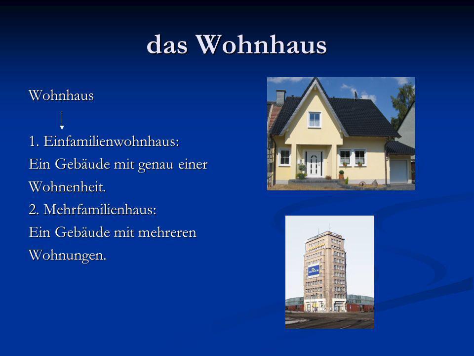 das Wohnhaus Wohnhaus 1.Einfamilienwohnhaus: Ein Gebäude mit genau einer Wohnenheit.