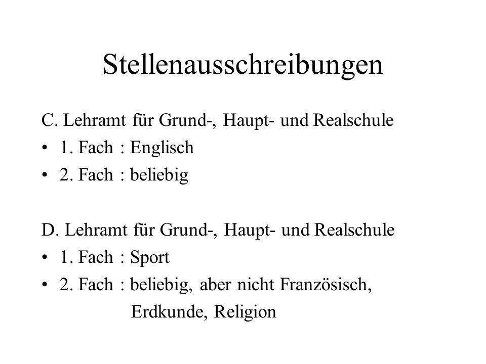 Stellenausschreibungen C. Lehramt für Grund-, Haupt- und Realschule 1.
