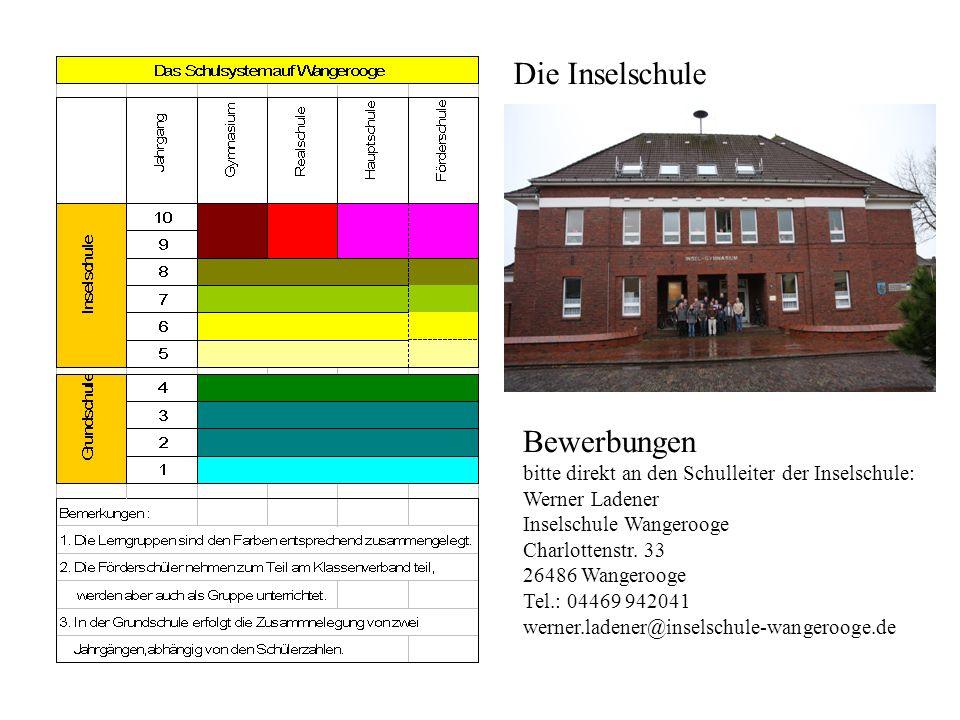 Die Inselschule Bewerbungen bitte direkt an den Schulleiter der Inselschule: Werner Ladener Inselschule Wangerooge Charlottenstr.