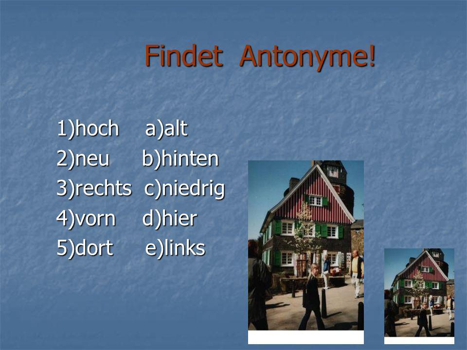 Findet Antonyme.Findet Antonyme.