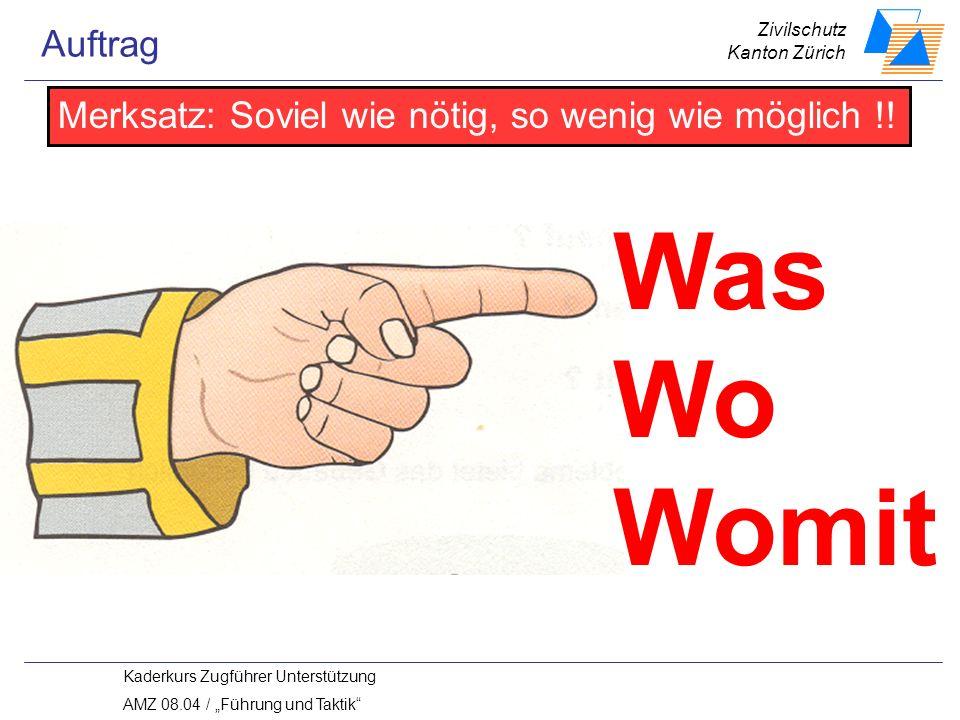 Zivilschutz Kanton Zürich Kaderkurs Zugführer Unterstützung AMZ 08.04 / Führung und Taktik Was Wo Womit Merksatz: Soviel wie nötig, so wenig wie möglich !.