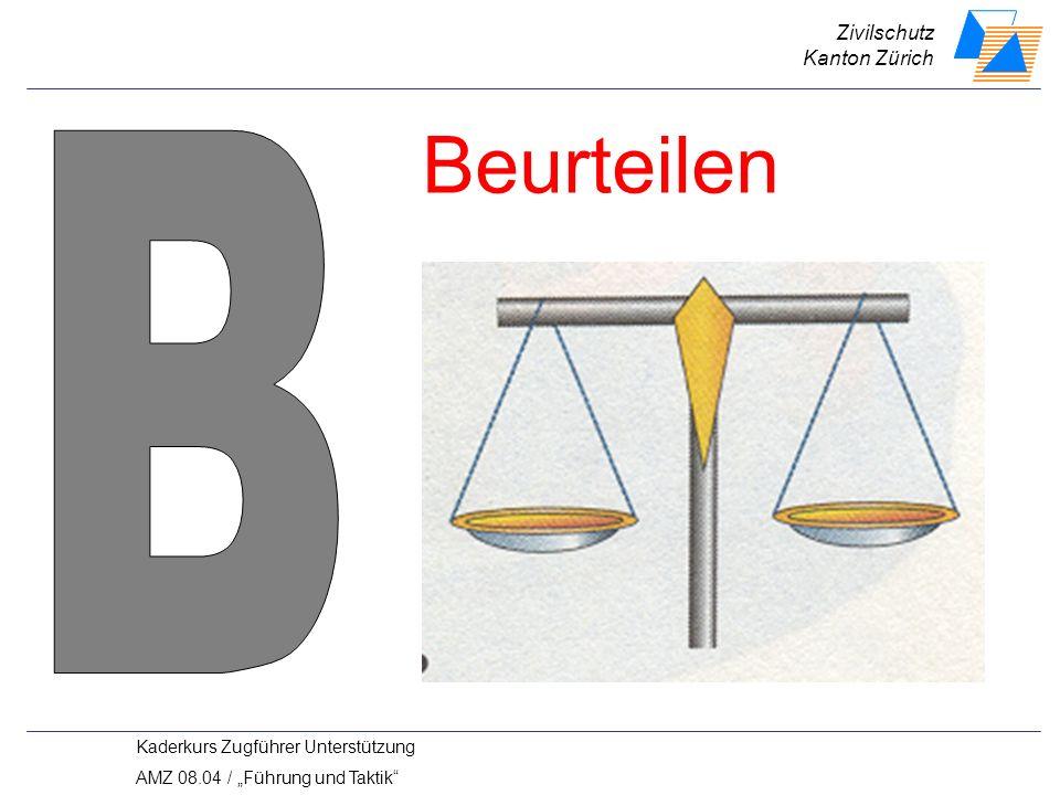 Zivilschutz Kanton Zürich Kaderkurs Zugführer Unterstützung AMZ 08.04 / Führung und Taktik Beurteilen