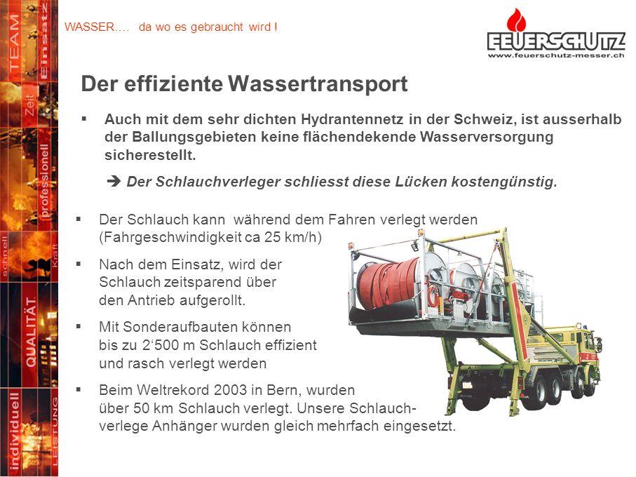 Seit über 30 Jahren optimieren wir die Einsatzkraft unserer Kunden… Der effiziente Wassertransport Der Schlauch kann während dem Fahren verlegt werden (Fahrgeschwindigkeit ca 25 km/h) Nach dem Einsatz, wird der Schlauch zeitsparend über den Antrieb aufgerollt.