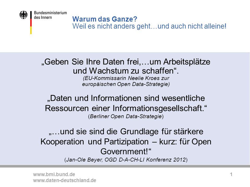 www.bmi.bund.de www.daten-deutschland.de 1 Geben Sie Ihre Daten frei,…um Arbeitsplätze und Wachstum zu schaffen.