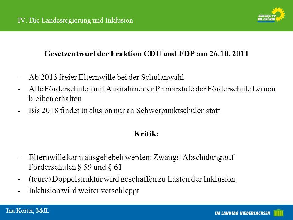 IV. Die Landesregierung und Inklusion Gesetzentwurf der Fraktion CDU und FDP am 26.10. 2011 -Ab 2013 freier Elternwille bei der Schulanwahl -Alle Förd