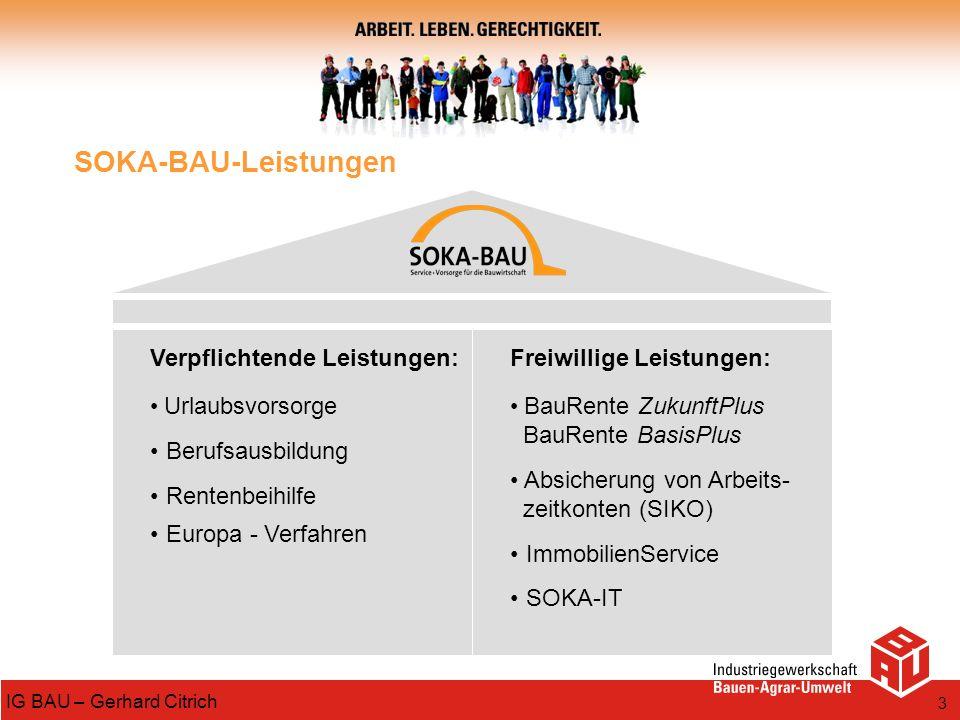 3 IG BAU – Gerhard Citrich SOKA-BAU-Leistungen Verpflichtende Leistungen: Urlaubsvorsorge Berufsausbildung Rentenbeihilfe Europa - Verfahren Freiwilli