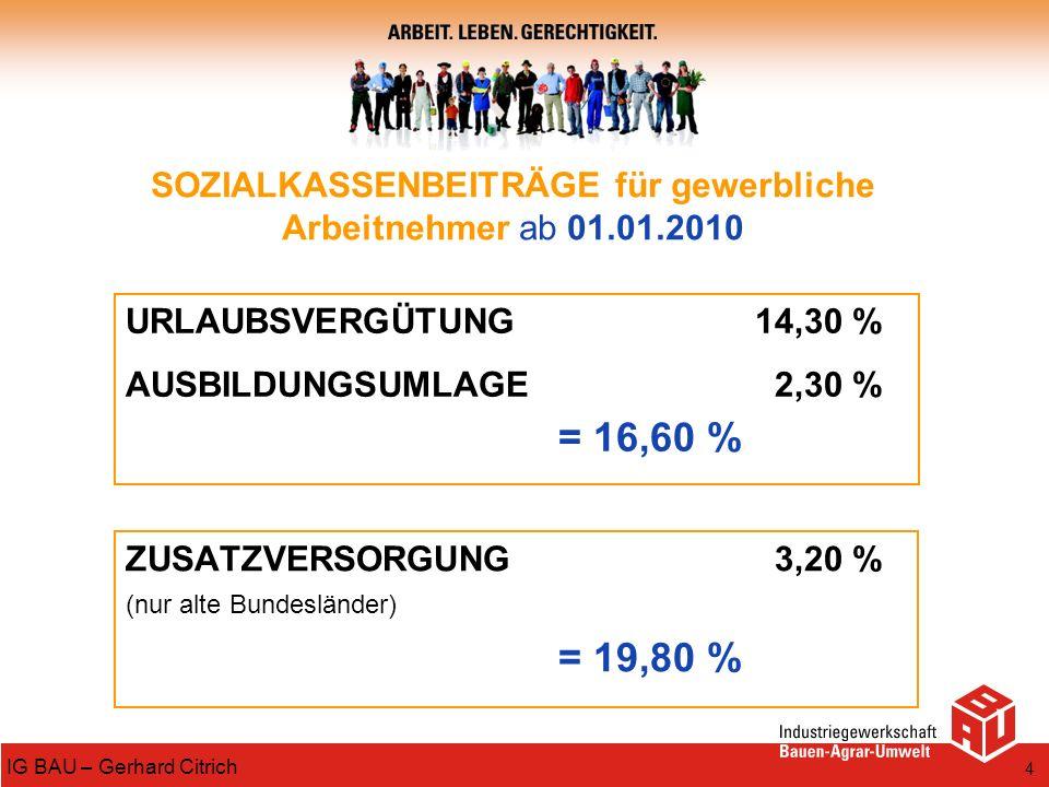 4 IG BAU – Gerhard Citrich SOZIALKASSENBEITRÄGE für gewerbliche Arbeitnehmer ab 01.01.2010 URLAUBSVERGÜTUNG14,30 % AUSBILDUNGSUMLAGE 2,30 % = 16,60 %
