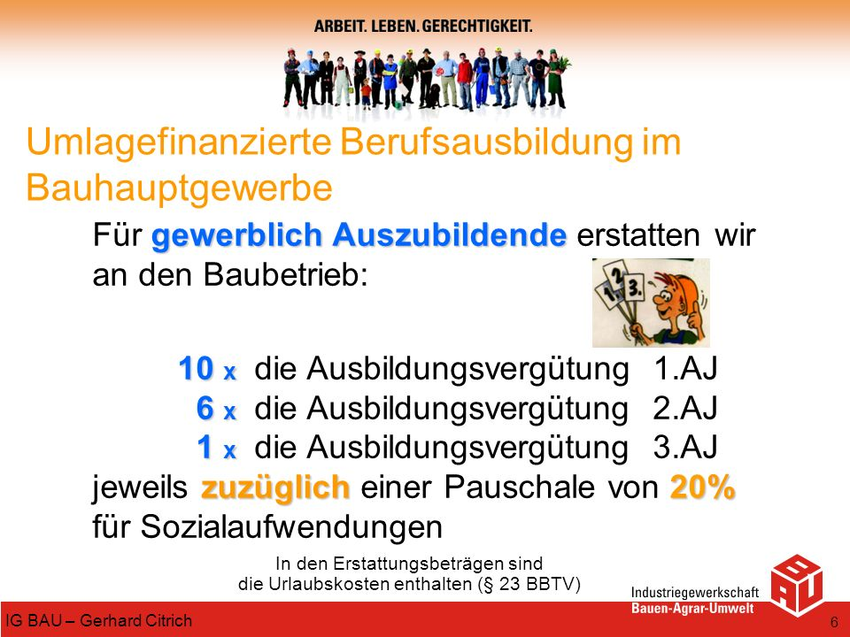 6 IG BAU – Gerhard Citrich gewerblich Auszubildende Für gewerblich Auszubildende erstatten wir an den Baubetrieb: 10 x 10 x die Ausbildungsvergütung 1