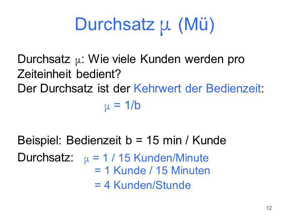 12 Durchsatz μ (Mü) Durchsatz μ : Wie viele Kunden werden pro Zeiteinheit bedient? Der Durchsatz ist der Kehrwert der Bedienzeit: μ = 1/b Beispiel: Be