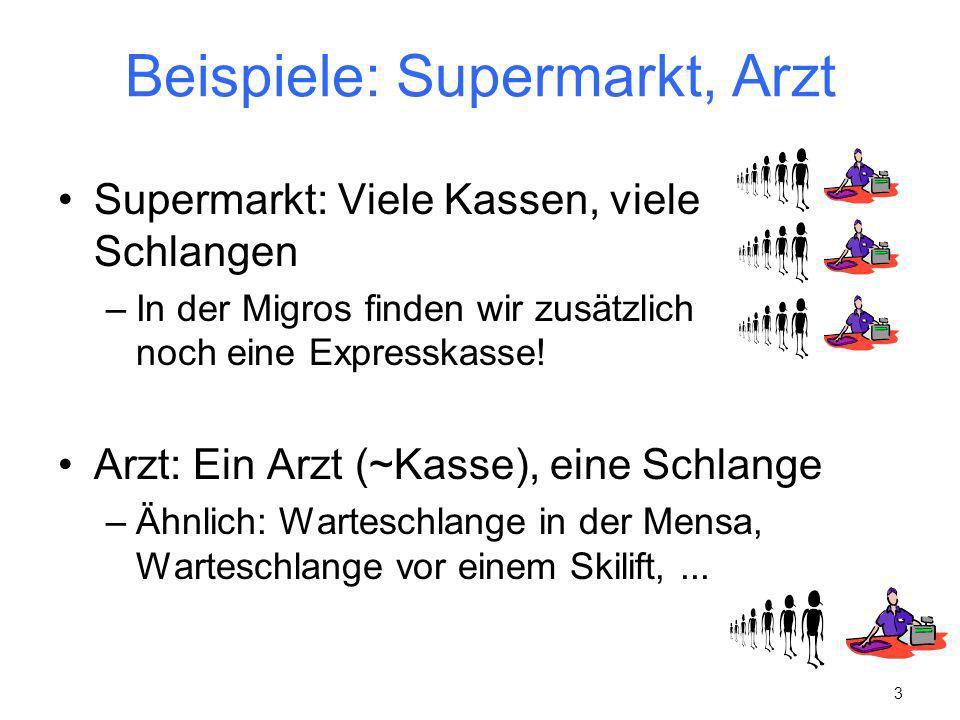 3 Beispiele: Supermarkt, Arzt Supermarkt: Viele Kassen, viele Schlangen –In der Migros finden wir zusätzlich noch eine Expresskasse! Arzt: Ein Arzt (~