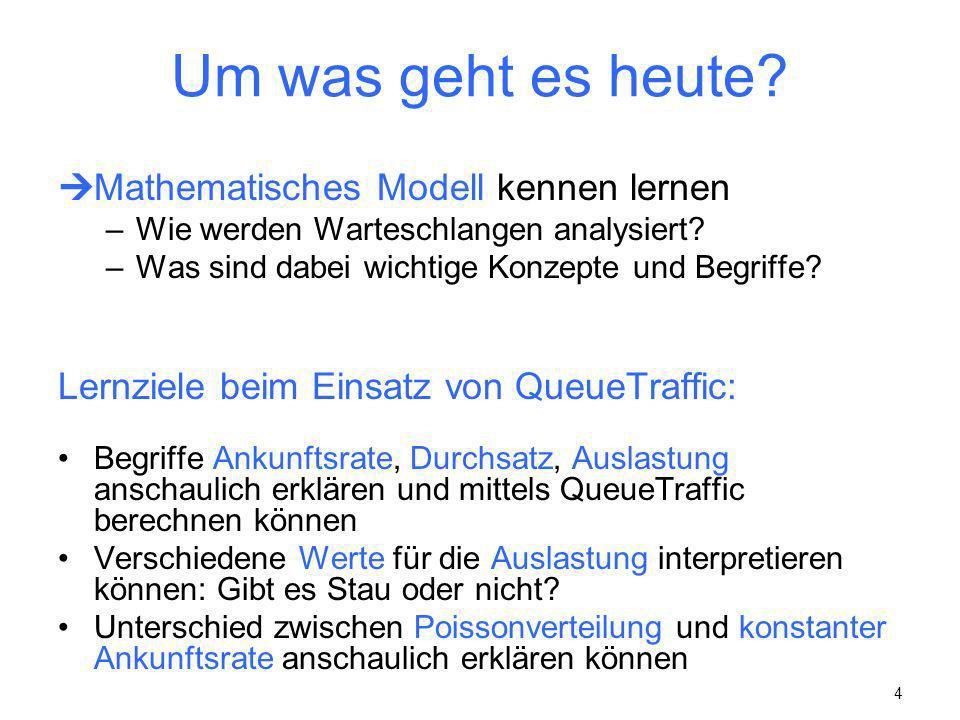 4 Um was geht es heute? Mathematisches Modell kennen lernen –Wie werden Warteschlangen analysiert? –Was sind dabei wichtige Konzepte und Begriffe? Ler