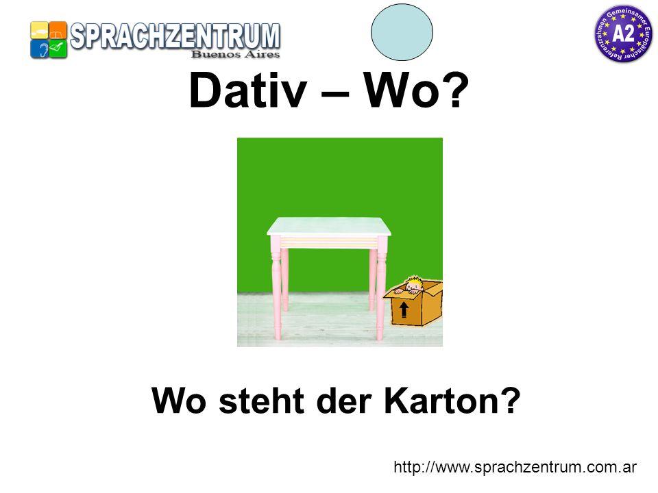 http://www.sprachzentrum.com.ar Dativ – Wo? Wo steht der Karton?
