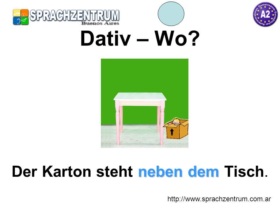 http://www.sprachzentrum.com.ar Dativ – Wo? neben dem Der Karton steht neben dem Tisch.