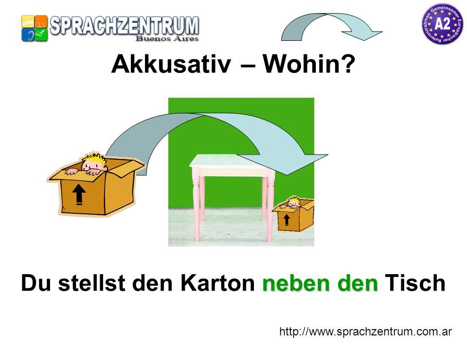http://www.sprachzentrum.com.ar neben den Du stellst den Karton neben den Tisch Akkusativ – Wohin?
