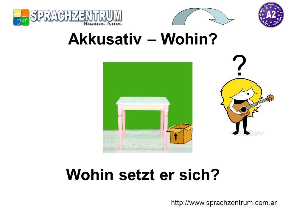 http://www.sprachzentrum.com.ar Wohin setzt er sich? Akkusativ – Wohin? ?