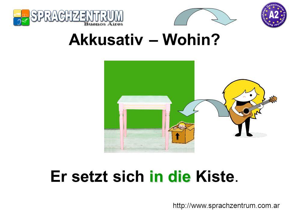 http://www.sprachzentrum.com.ar in die Er setzt sich in die Kiste. Akkusativ – Wohin?