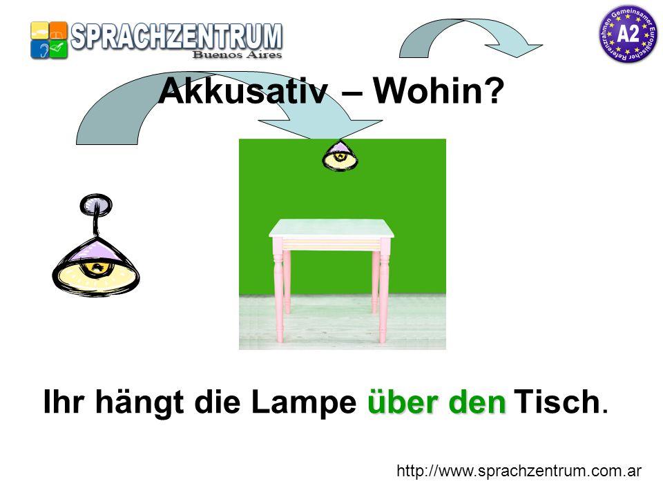 http://www.sprachzentrum.com.ar über den Ihr hängt die Lampe über den Tisch. Akkusativ – Wohin?