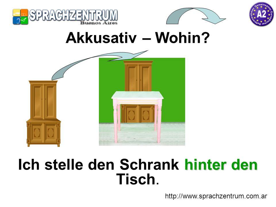 http://www.sprachzentrum.com.ar hinterden Ich stelle den Schrank hinter den Tisch. Akkusativ – Wohin?
