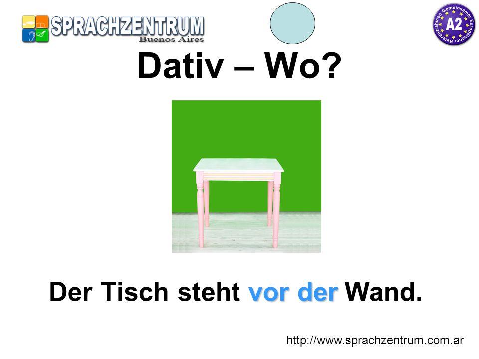 http://www.sprachzentrum.com.ar Dativ – Wo? vor der Der Tisch steht vor der Wand.