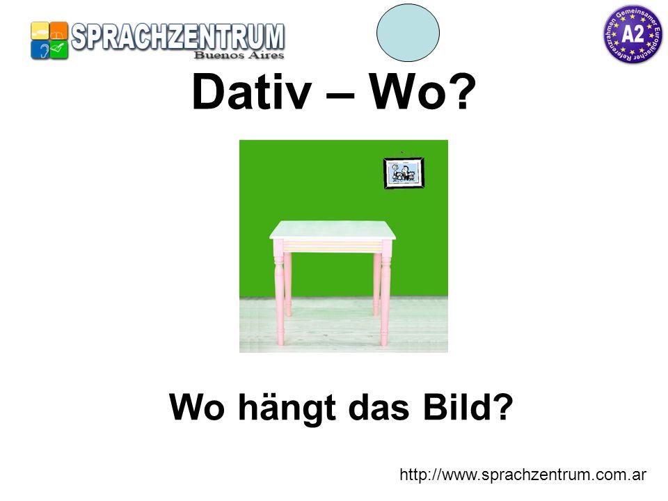 http://www.sprachzentrum.com.ar Dativ – Wo? an der Das Bild hängt an der Wand.