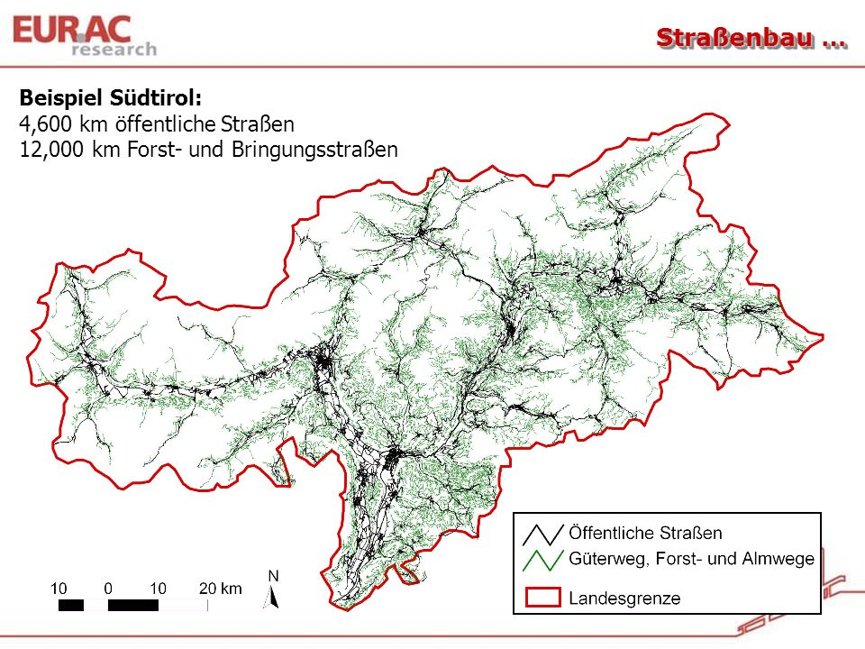 Straßenbau … Beispiel Südtirol: 4,600 km öffentliche Straßen 12,000 km Forst- und Bringungsstraßen