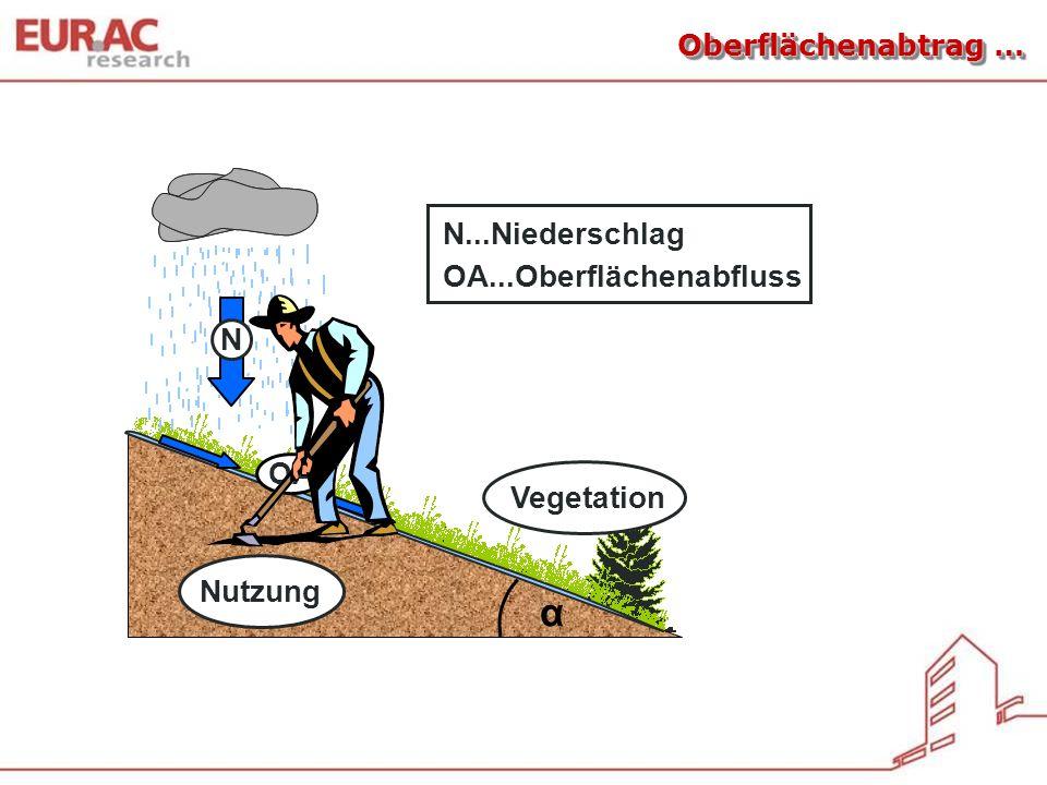 Vegetation Oberflächenabtrag … α N...Niederschlag OA...Oberflächenabfluss OA Nutzung
