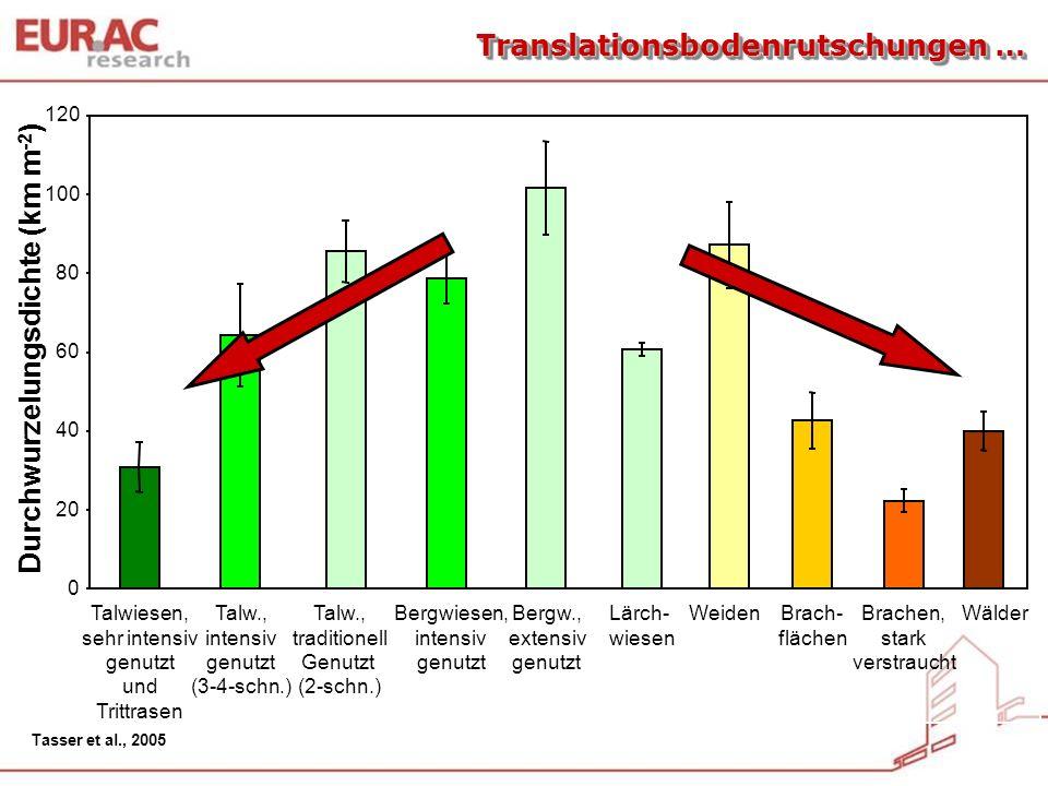 0 20 40 60 80 100 120 Talw., intensiv genutzt (3-4-schn.) Bergwiesen, intensiv genutzt Talw., traditionell Genutzt (2-schn.) Bergw., extensiv genutzt