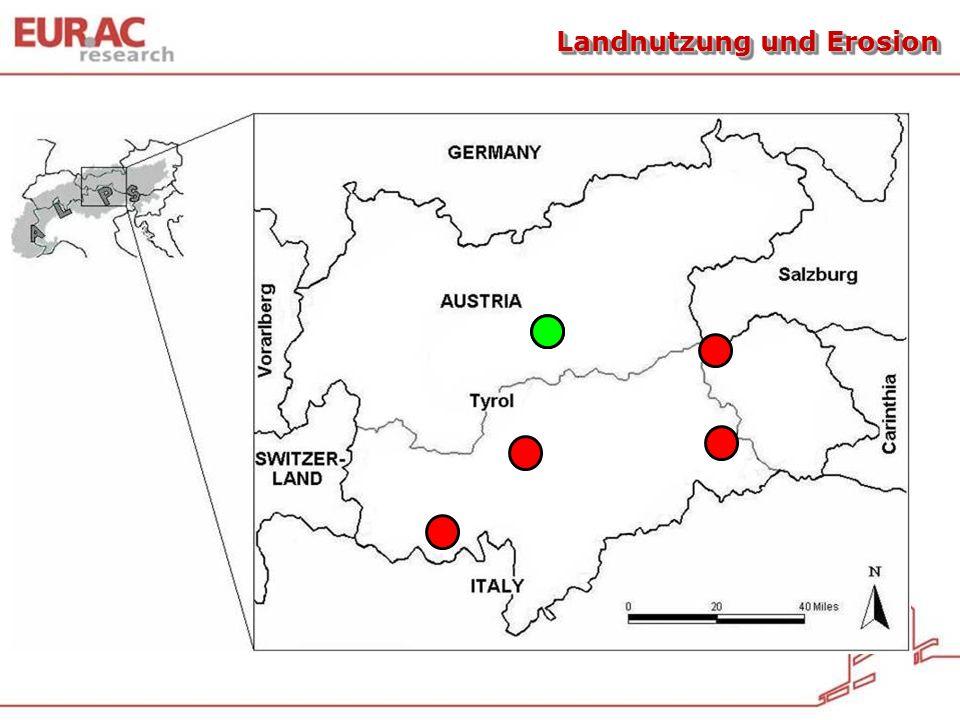 0 20 40 60 80 100 120 Talw., intensiv genutzt (3-4-schn.) Bergwiesen, intensiv genutzt Talw., traditionell Genutzt (2-schn.) Bergw., extensiv genutzt Lärch- wiesen Weiden Brach- flächen Brachen, stark verstraucht Wälder Durchwurzelungsdichte (km m -2 ) Talwiesen, sehr intensiv genutzt und Trittrasen Tasser et al., 2005 Translationsbodenrutschungen …